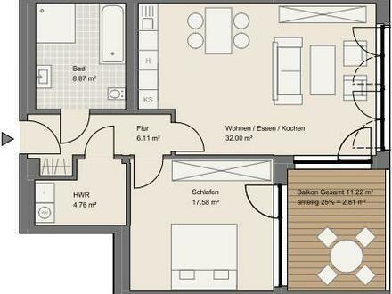 NEUBAU: Exklusive 2-Zimmer-Wohnungen in Goldbach mit überdachtem Balkon