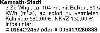 Kemnath-Stadt3-Zi.-Whg., ca. 1...