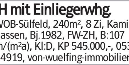 EFH mit Einliegerwhg. in WOB-Sülfeld, 240m², 8 Zi, Kamin, 2 Terrassen,...