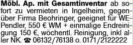 1-Zimmer Mietwohnung in Ingelheim