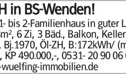 EFH in BS-Wenden! Gr. 1- bis 2-Familienhaus in guter Lage, 148m², 6 Zi,...