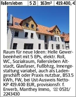 Fallersleben 5 Zi 163m² 419.400,-€ Raum für neue Ideen: Helle Gewerbeeinheit...