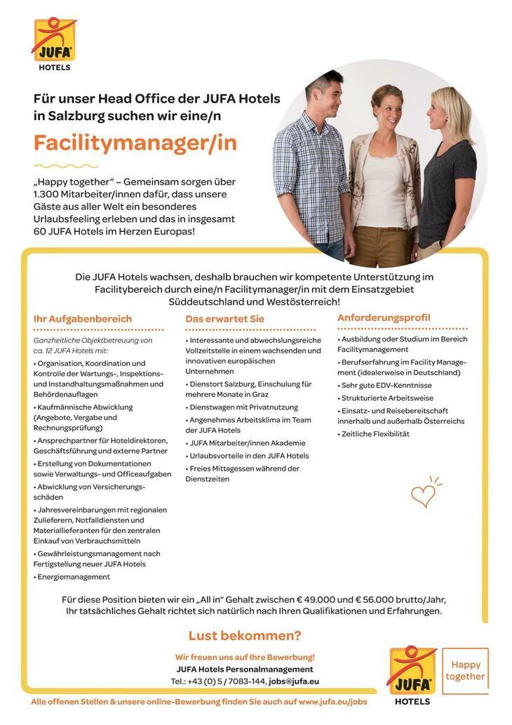 """Lust bekommen? Wir freuen uns auf Ihre Bewerbung! JUFA Hotels Personalmanagement Tel.: +43 (0) 5 / 7083-144, jobs@jufa.eu """"Happy together"""" – Gemeinsam sorgen über 1.300 Mitarbeiter/innen dafür, dass u"""