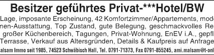 Besitzer geführtes Privat-***Hotel - City Lage - BW