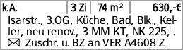 k.A. 3 Zi 74 m² 630,-€ Isarstr., 3.OG, Küche, Bad, Blk., Keller, neu renov.,...