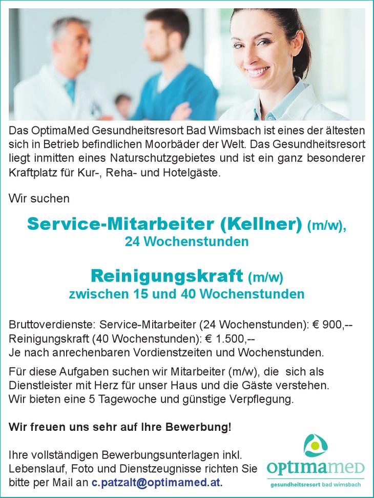 Wir suchen Service-Mitarbeiter (Kellner) (m/w), 24 Wochenstunden Reinigungskraft (m/w) zwischen 15 und 40 Wochenstunden