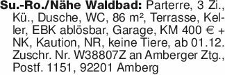 Su.-Ro./Nähe Waldbad: Parterre...