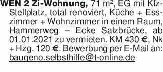 WEN 2 Zi-Wohnung, 71 m², EG mi...