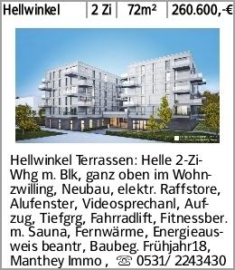 Hellwinkel 2 Zi 72m² 260.600,-€ Hellwinkel Terrassen: Helle 2-Zi-Whg m....