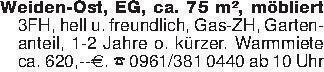 Weiden-Ost, EG, ca. 75 m², möb...
