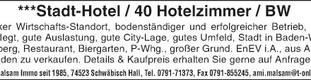 ***Stadt-Hotel/ 40 + 5 Hotelzimmer in Baden Württemberg