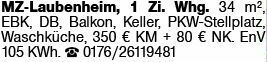 1-Zimmer Mietwohnung in Mainz-Laubenheim (55130)