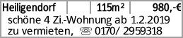 Heiligendorf 115m² 980,-€ schöne 4 Zi.-Wohnung ab 1.2.2019 zu vermieten,...