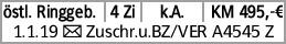 östl. Ringgeb. 4 Zi k.A. KM 495,-€ 1.1.19 Y Zuschr.u.BZ/VER A4545 Z