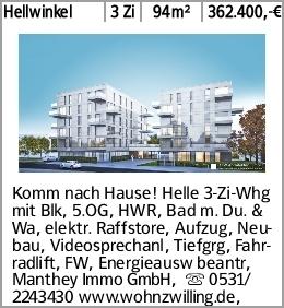Hellwinkel 3 Zi 94m² 362.400,-€ Komm nach Hause! Helle 3-Zi-Whg mit Blk,...