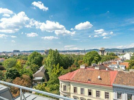 ++den AUGARTEN ums Eck++ Hochwertige 133m² 4-Zimmer DG-Maisonette! mit 3 Terrassen u. unglaublichem WEITBLICK! TABOR-SKY!