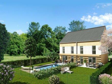 Neues, wunderschönes Doppelhaus mit Fernblick und riesen Garten, in außergewöhnlicher Ruhelage