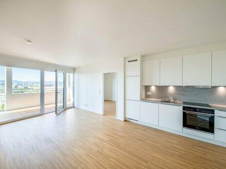 PÄRCHENTRAUM MIT AUSSICHT - ERSTBEZUG INKLUSIVE KÜCHE: 2-Zimmer-Wohnung im 7. Stock mit wunderschöner LOGGIA in U-Bahn-Nähe…