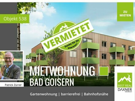 Vermietet! 2-Zimmer Gartenwohnung am Hallstättersee - Bad Goisern / Steeg