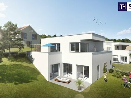 EXKLUSIVE Lärchenhof-Villa mit zwei Wohneinheiten + grandiosen Terrassen + Garten + 2 Carports + 2 Abstellplätze