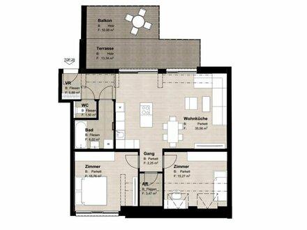 ++NEU++ Hochwertiger 3-Zimmer DG-ERSTBEZUG mit Terrasse (23m²), perfekter Schnitt! alles auf einer Ebene!