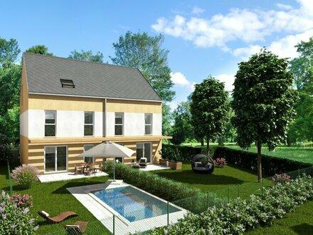 Fernblick, Ruhelage, ebenes Grundstück, modernes Doppelhaus mit großem Garten