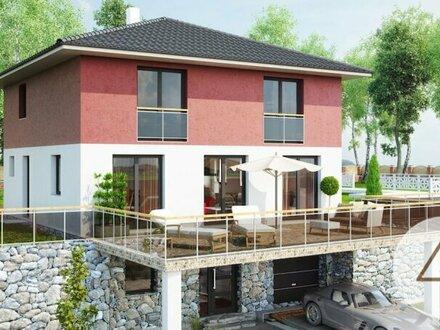 Baugrundstück mit Hanglage und neuem Einfamilienhaus