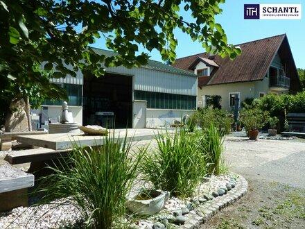 ITH: GELEGENHEIT! Exklusives und großzügiges Wohn-/Bürohaus mit Produktionshalle in Frequenzlage! + Gartenhaus + Biotop +…