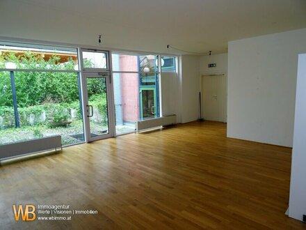 Helles Innenhof-Büro Ecke Kaiserstraße/ Lerchenfelderstraße mit Gartenausgang und Sanitärräumen im Keller