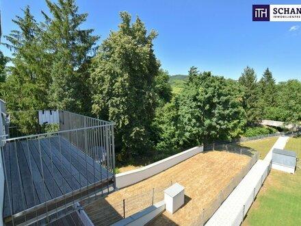 Zwei-Zimmer-Erstbezug im Dachgeschoß mit 3,10 Meter Raumhöhe und idyllischer Freifläche ins Grüne!