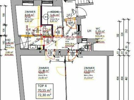 Frisch sanierte und optimal aufgeteilte 3 (- 4) Zimmer Wohnung mit extra Küche