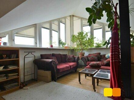 Dachgeschoss-Atelier mit ungewöhnlichen Grundriss, Blick auf's Riesenrad