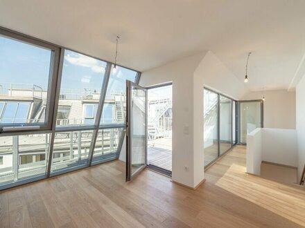 ++den AUGARTEN ums Eck++ Hochwertige 3-Zimmer DG-Maisonette! Terrasse+Dachterrasse mit unglaublichem WEITBLICK! TABOR-SKY!