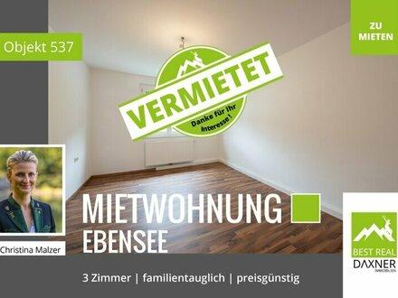 Vermietet! Preiswerte 3-Zimmer (69m²) Mietwohnung in Ebensee!