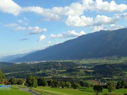 Grundstück Hühnersberg - sonnige ruhige Lage - nähe Spittal/Drau - barrierefreier Blick ins Tal -
