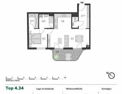 +++ DACHGESCHOSS OHNE SCHRÄGEN! +++ Großzügige 2 Zimmer Neubau Dachgeschosseigentumswohnung mit Balkon in 1A-Lage