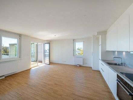 PÄRCHENTRAUM - ERSTBEZUG INKLUSIVE KÜCHE: 2-Zimmer-Wohnung mit LOGGIA und DACHGARTEN in U-Bahn-Nähe - PROVISIONSFREI direkt…