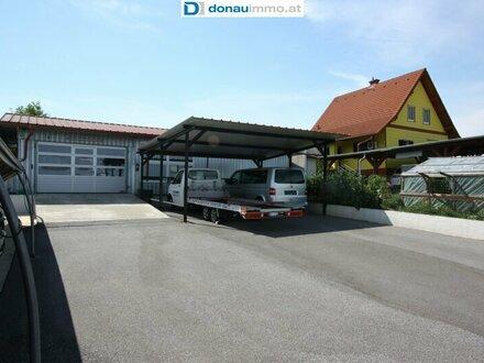 Betriebsobjekt mit Wohnhaus, Halle und Werkstatt, 3 Carports, Freifläche mit Hagelschutznetz