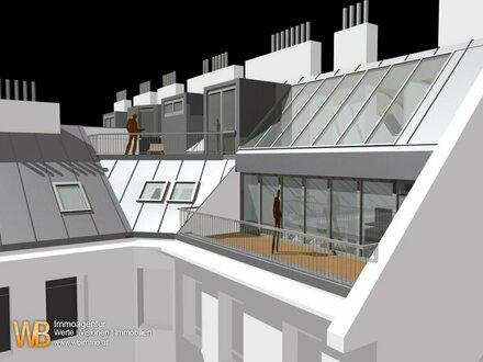 500m² WFL+100m² Terr.; Repräsentativer Altbau, U1; DG-Erstbezug, 5 Wohneinheiten, 6 Terrassen
