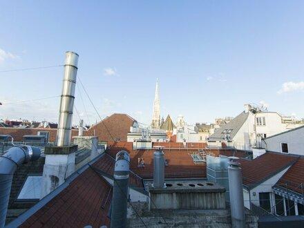 Schöne DG-Wohnung mit 3-Zimmern und Terrasse mit Blick zum Stephansdom in 1010 Wien zu vermieten!
