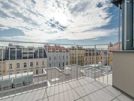 Six in the City: Hochwertige 2-Zimmerwohnung, BESTLAGE, Neubau mit Balkon u. WEITBLICK!