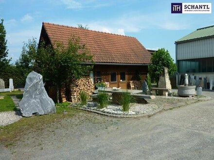 ITH: IDEAL! Großzügige Gewerbe-/Produktionshalle + Hervorragende Sichtbarkeit + Holzhaus für Büro + Zentrumslage + Gewerbegebiet!