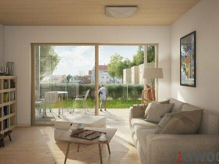 Hochwertige Gartenwohnung im Erstbezug (4 Zimmer, 2 Bäder) in Grünlage, dennoch urbanes Haus mit anspruchsvoller Architektur…