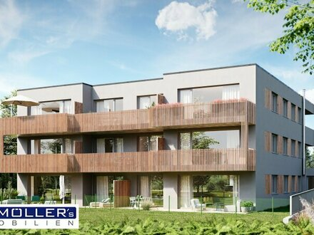 Moderne Neubau-Wohnung mit Garten in Stadtnähe