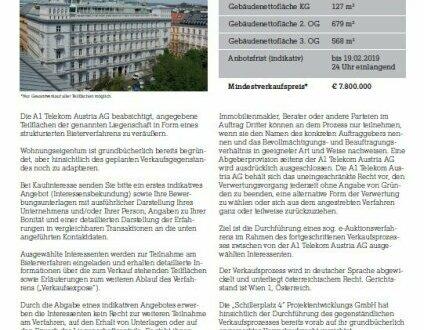 """A1 Telekom Austria AG """"Verkauf von Teilflächen am Schillerplatz 4, 1010 Wien"""""""