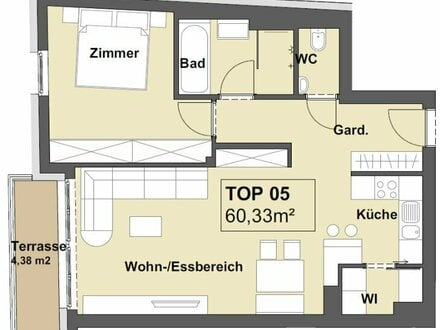 Perfekt und großzügig geschnittene 2-Zimmer Wohnung mit Terrasse