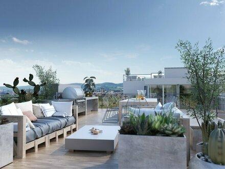 BLICK ÜBER WIEN - EXKLUSIVES 305m² PENTHOUSE / MAISONETTE mit 55m² TERRASSEN und 66m² DACHTERRASSE - Kandlhof 1070 Wien