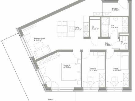 Preiswunder! Lichtdurchflutete 4-Zi Wohnung + großzügigen 25m2 Balkon!