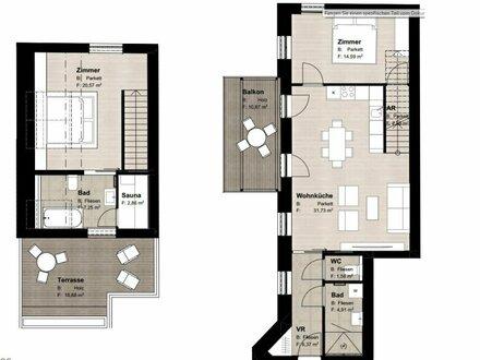 ++Rarität** Hochwertige 3-Zimmer Maisonette mit Terrasse/Balkon (28m²) und Sauna, perfekter Schnitt!!