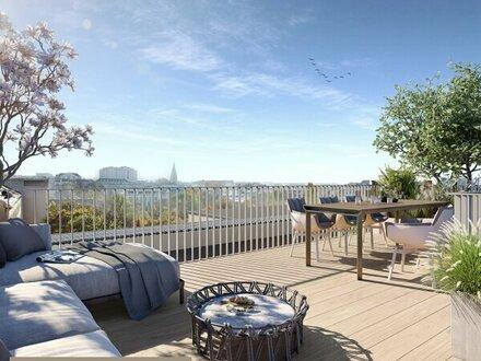 (Exklusiver Erstbezug) NEW PRESTIGE - Traumhafte Dachterrassenwohnung mit unverbautem Grünblick in top Botschaftslage